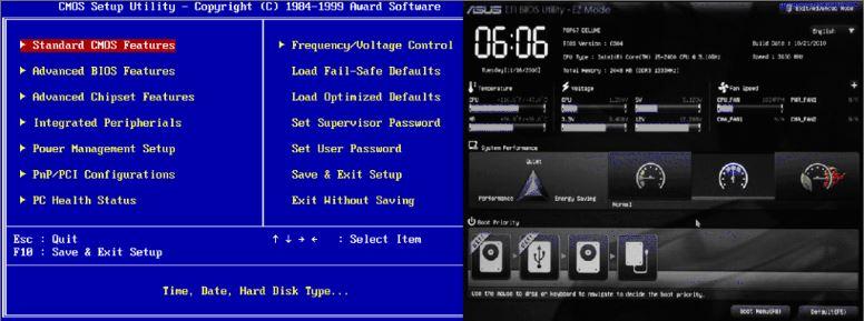 UEFI BIOS Screen old vs new