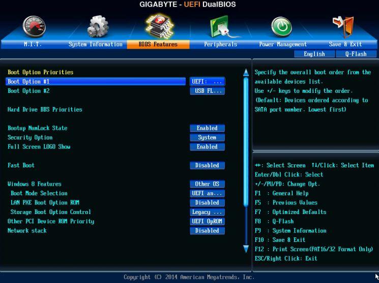 gigabyte bios boot menu